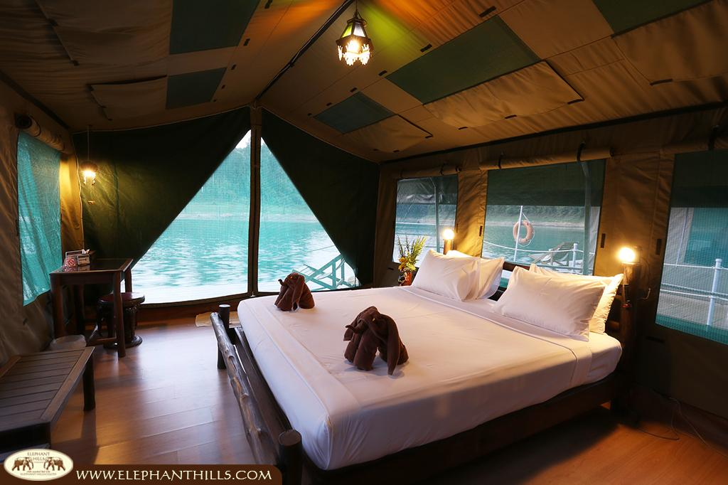 Floating directly above the water in a solid and comfortable bed