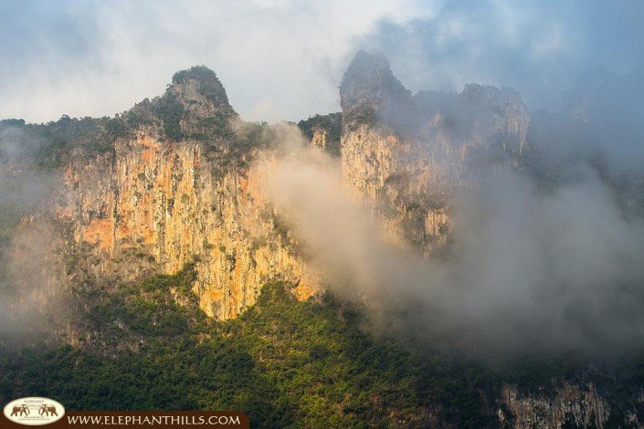 Limestone Mountains contain clay which colors the rocks with orange-brown
