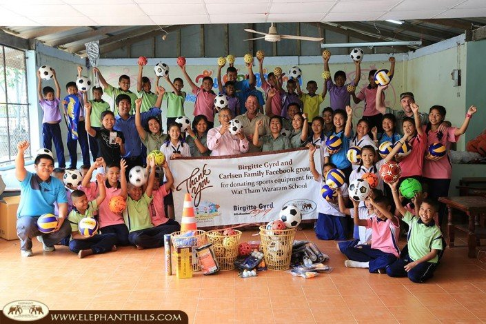 Thank you to Brigitte Gyrd and the Carlsen Family Facebook Group for donating sports equipment to one of our local schools. The Wat Tham Wararam school children cannot be more happy!