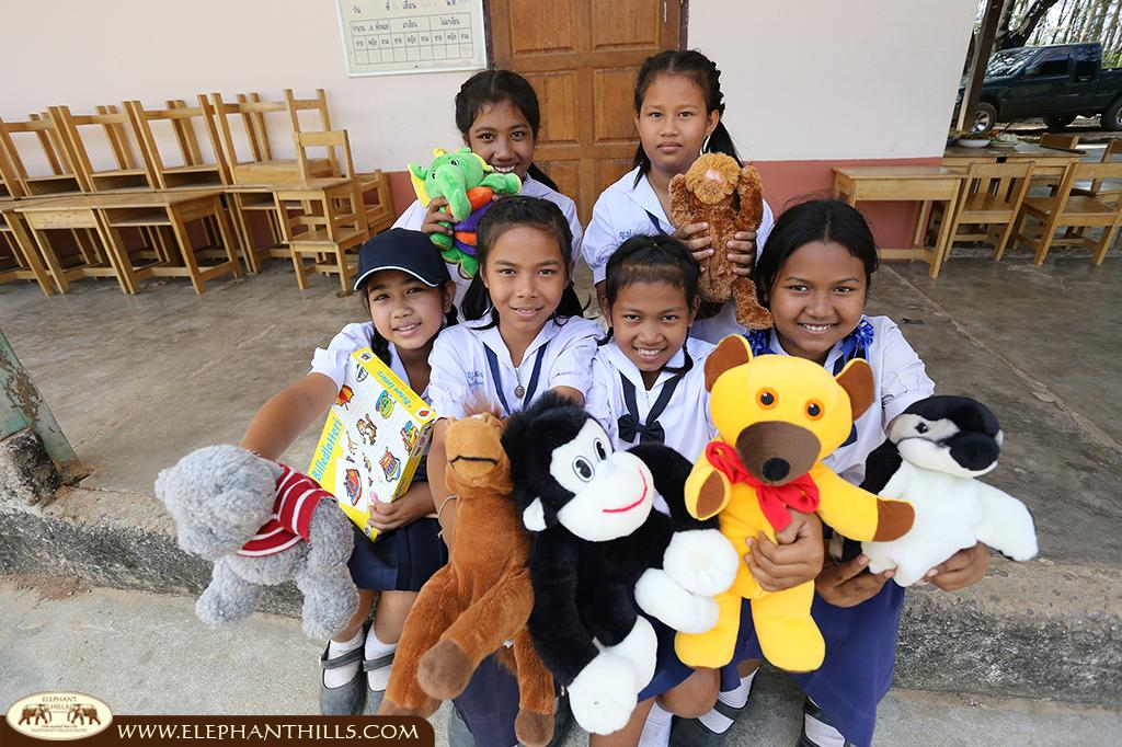 Happy faces of the school children being supported by Elephant Hills in Khao Sok
