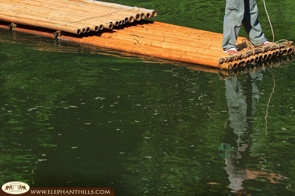 Our raft, made of giant bamboo, takes our jungle trekking guests safely across Sok river