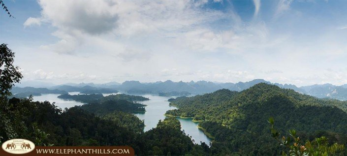 Bird's eye view of Khao Sok National Park and the Cheow Larn Lake