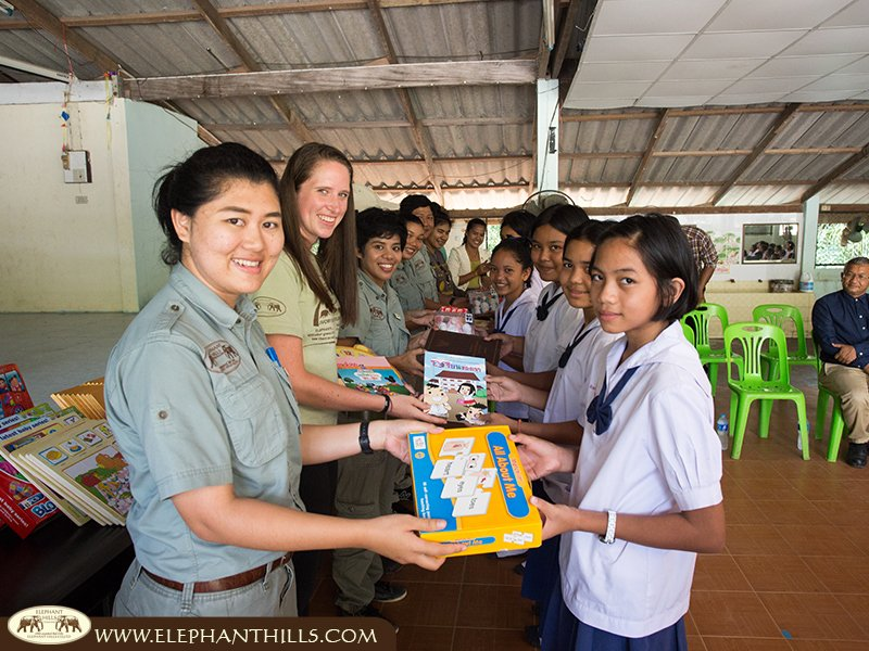 Delighted school kids at an Elephant Hills Children's Project Donation