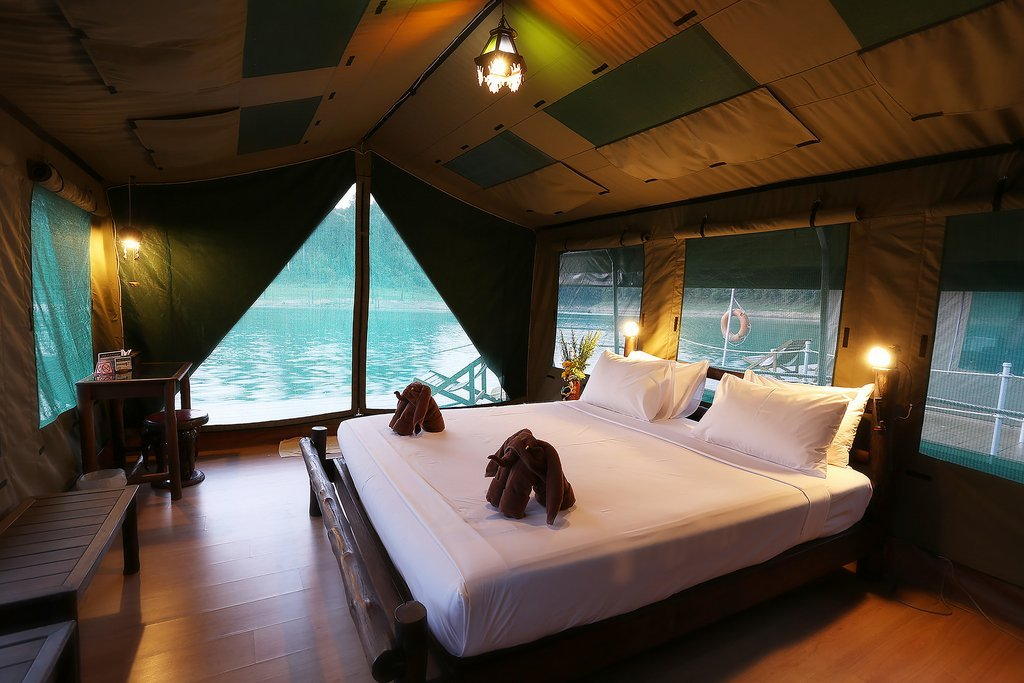 l9 Elephant Hills Luxury Tented floating Rainforest Camp Cheow Larn Lake Khao Sok National Park Thailand, Tent Interior